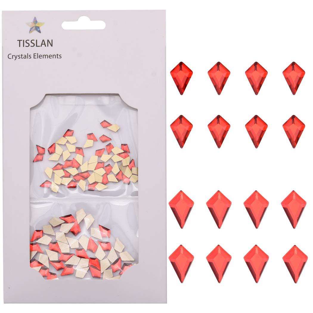 100pcs Crystal Glass Red Kite Flatback Shape Rhinestones 3d Decor Stones Accessories for Acrylic Nail Art Supply