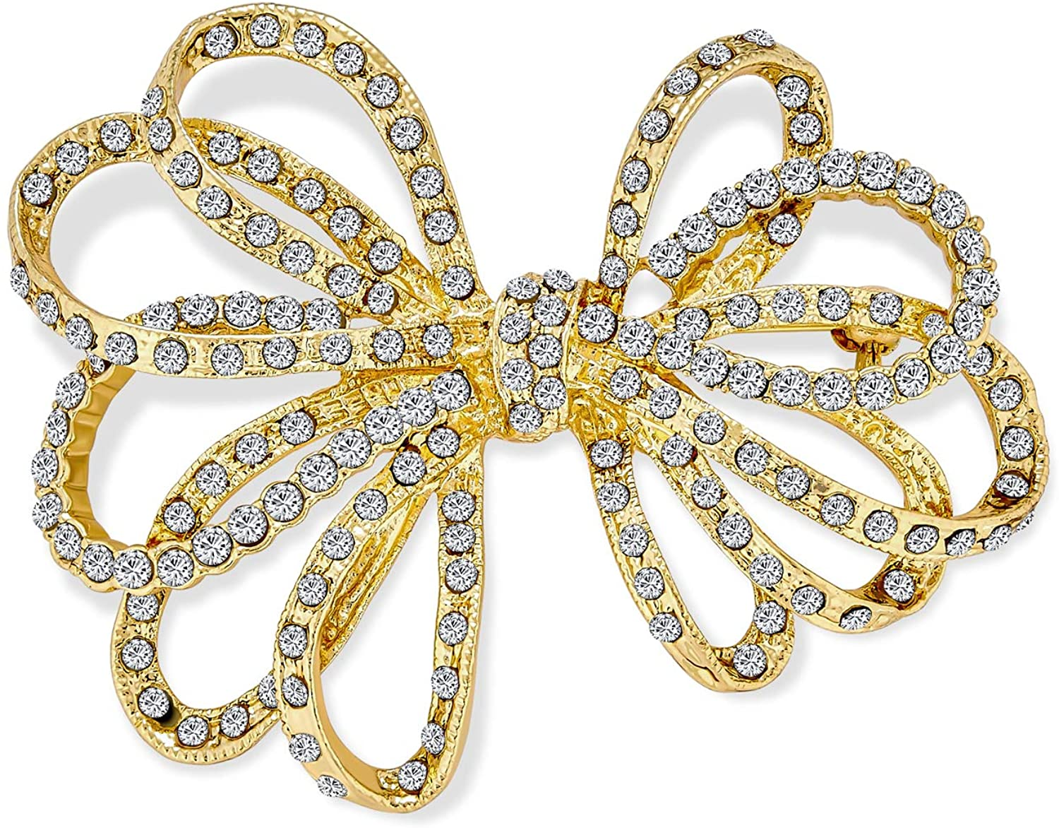 Bling Jewelry Large Bridal Holiday Statement Christmas Pave Crystal Wedding Open Bow Ribbon Brooch Pin for Women Silver, Rose, Gold Tone Rhodium Plated