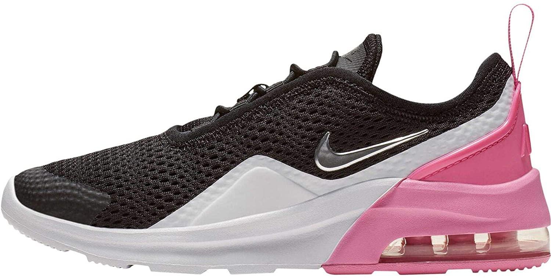 Nike Girl's Air Max Motion 2 Shoe Black/Metallic Silver/Psychic Pink/White Size