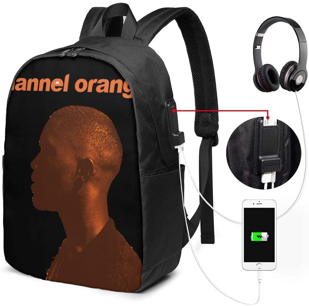 RhteGui Frank Ocean Channel Orange 17 Inch Laptop Backpack with USB Port, Unisex Business Backpack, School Bag