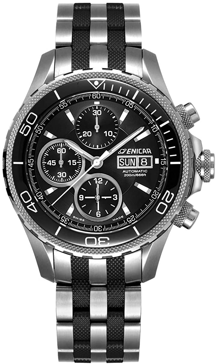 ENICAR Men's Complication Mechanical Automatic Watch - Chronograph (Model No.: 328aCMBB)