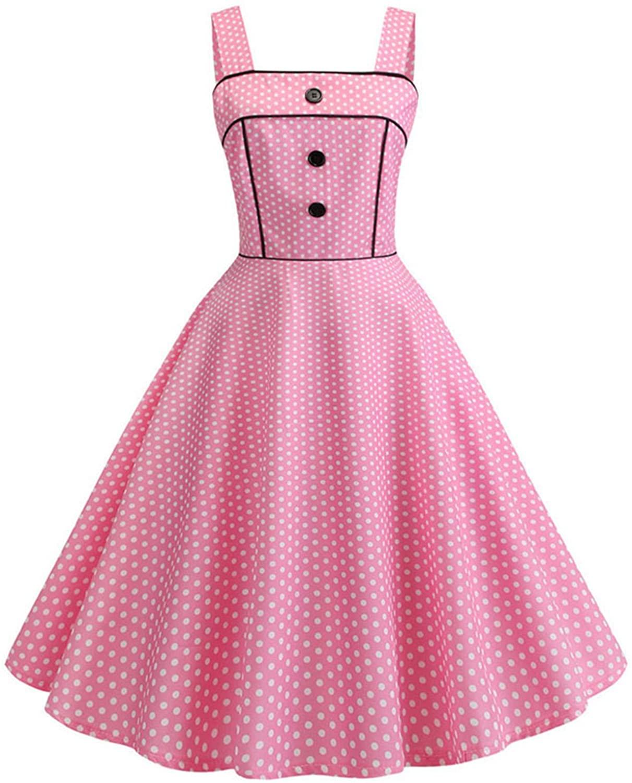 Summer Black Polka Dot Dress Women Big Swing 60S 50S Robe Vintage Dress