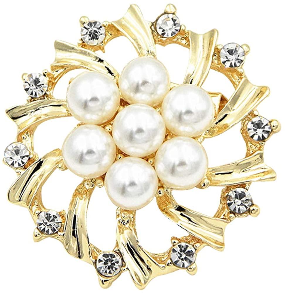 Walbest Brooch Pins for Women, Woman Fashion Faux Pearl Rhinestone Inlaid Flower Brooch Pin Cardigan Shawl Clip (Golden)