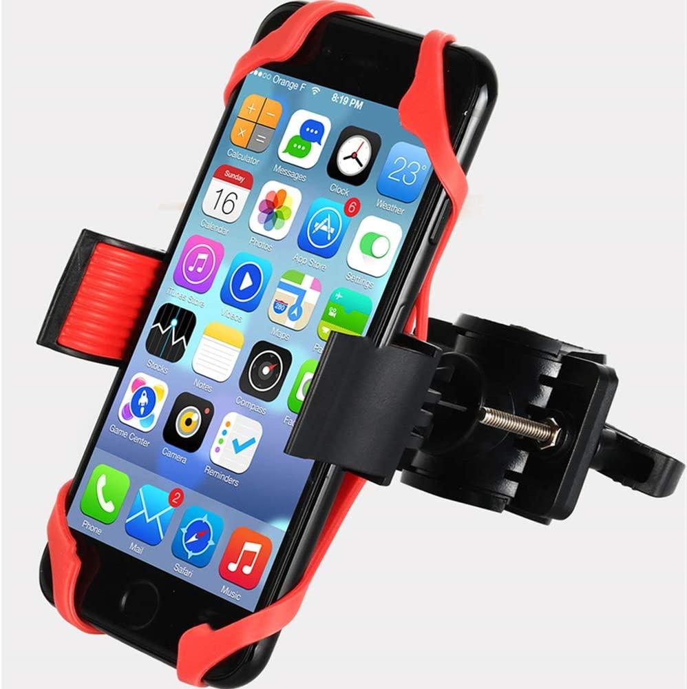 Durable Bike Phone Holder, Motorbike Phone Holder for Bike, HUNTEC Bike Phone Mount - 2 Colour Silicone Secure Bands, Universal Fit Any Phone or Handlebar, Tool Free Install, 360 Rotation