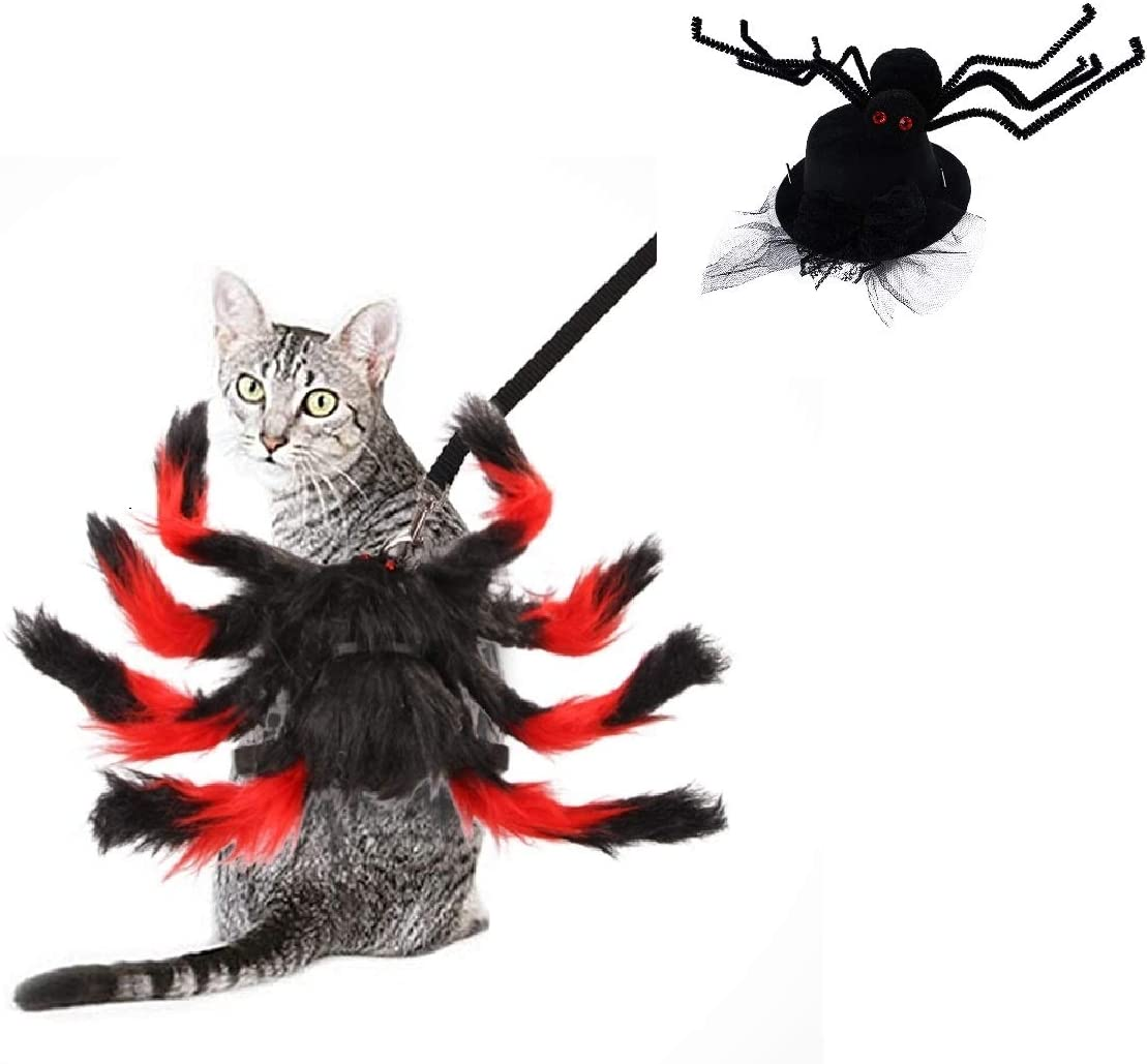 Cat Dog Halloween Costumes Witch Hats Pet for Small Dogs Cute Cat Dog Spider Costume (Red Spider)