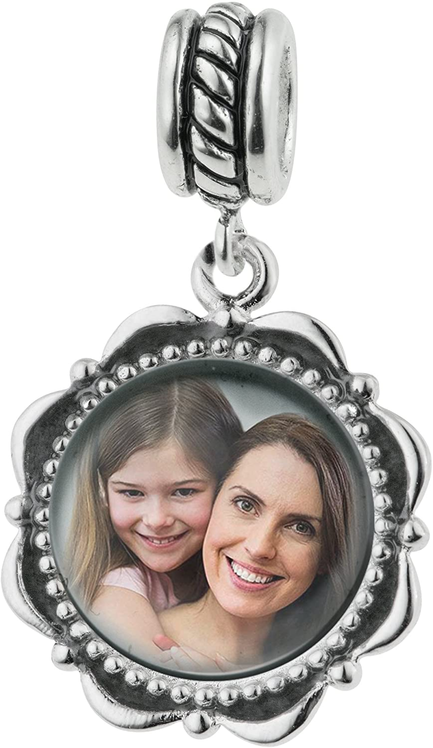 Qina C 925 Sterling Silver Personalized Photo Dangle Charm Bead For European Charm Bracelets