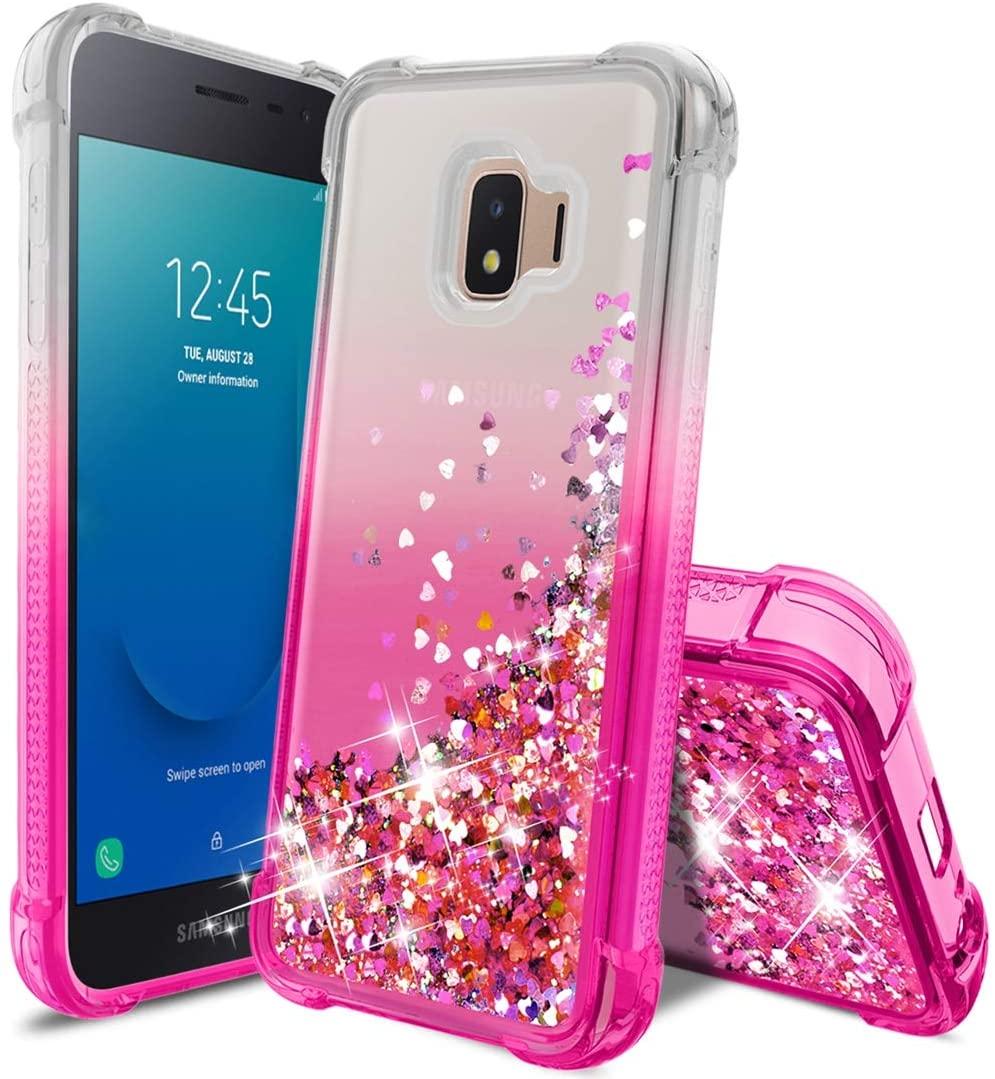 Samsung Galaxy J2 Case 2019,Galaxy J2 Core/J2 Pure/J2 Dash Phone Case w/HD Screen Protector,Slim TPU Glitter Quicksand Four Corner Shockproof Protective Phone Cover for Girls Women-Pink