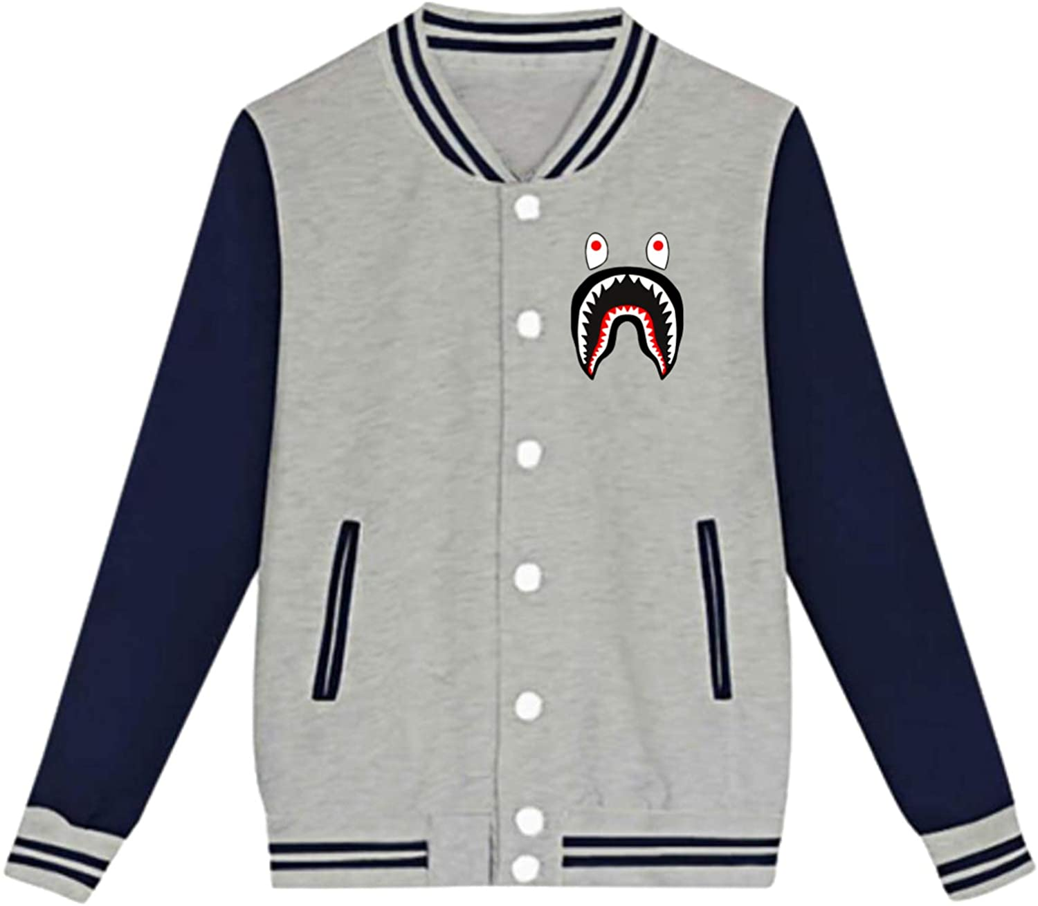 Ba-Pe Shark Face Teen Boys Girls Fleece Hipster Baseball Uniform Jacket Sport Coat