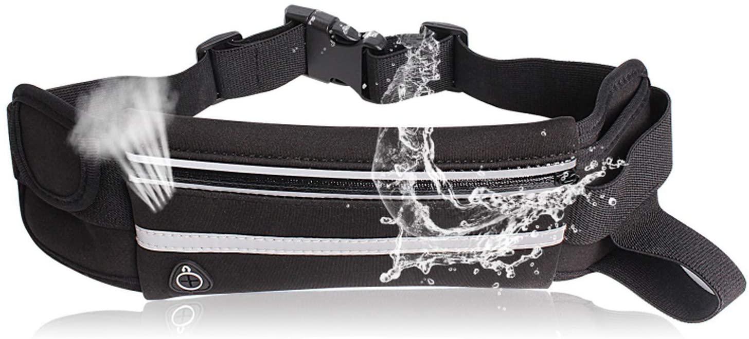 Togo Ultra-Thin Reflective Running Fanny Pack Adjustable Running Bag for All Mobile Phone Models Unisex Black