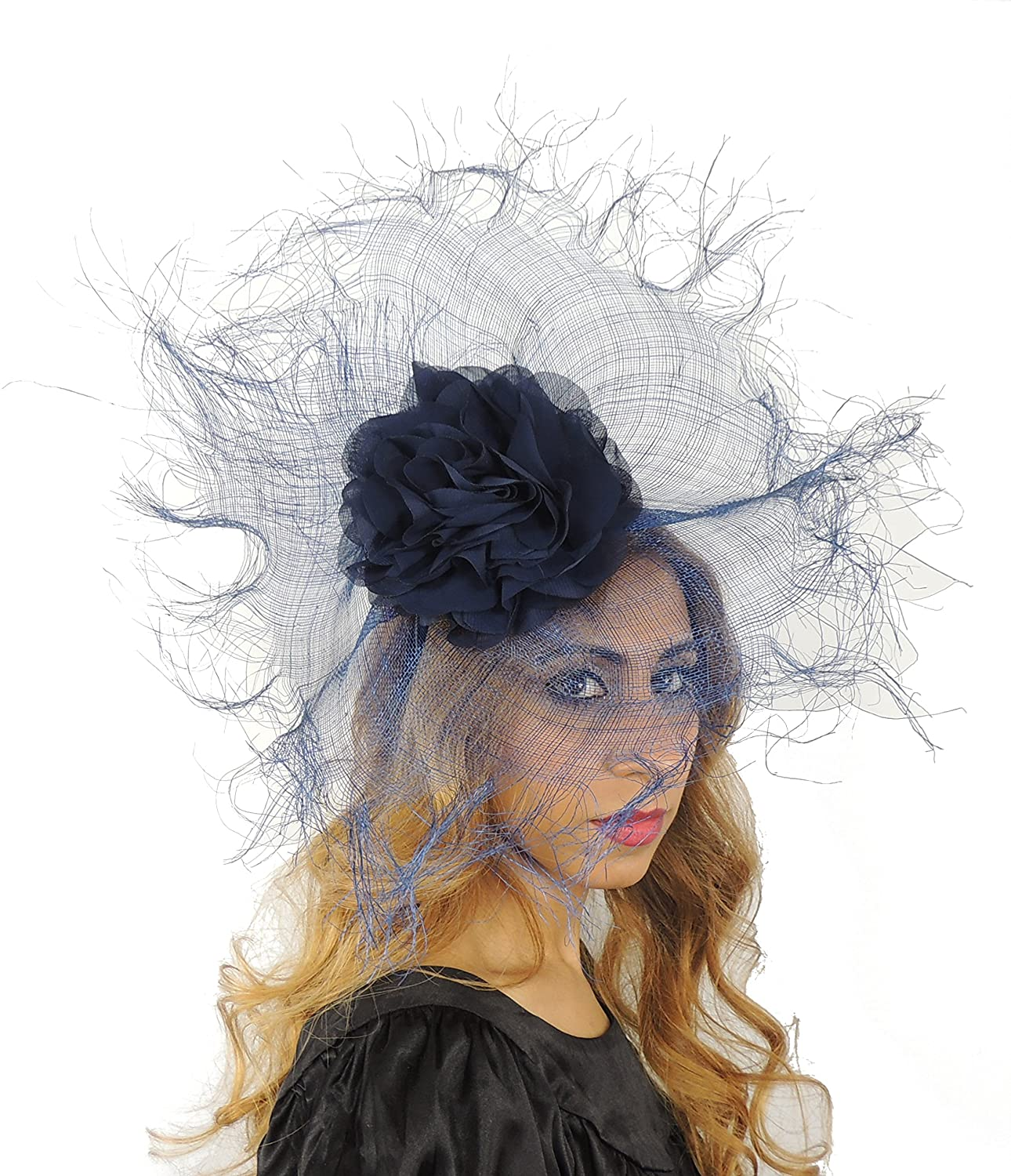 Hats By Cressida Elegant Sarena Large Ascot Derby Fascinator Hat - with Headband