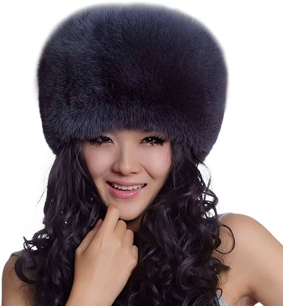 URSFUR Women's Genuine Fox Fur Mongolian Ushanka Hats Caps Multicolor
