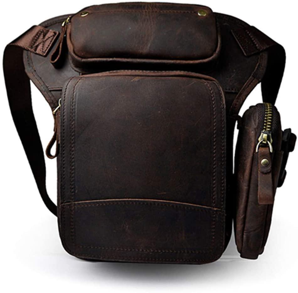 DiaoPiou Men's Waist Fanny Packs Genuine Leather Drop Leg Bag Cowhide Shoulder Bags Crossbody Bags Hip Belt Phone Pouch