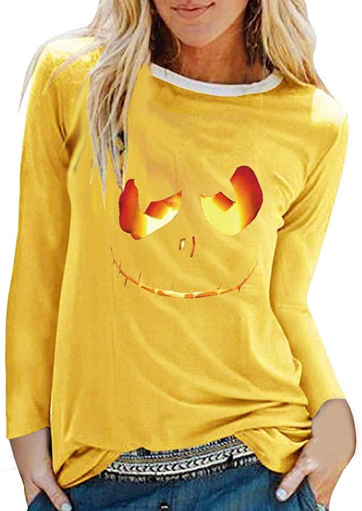 VEFSU Womens Halloween Print O-Neck Long Sleeve Top Loose T-Shirt Sweatshirt