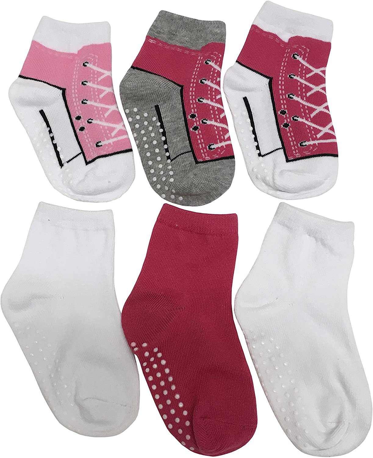 N'Ice Caps Girls and Baby Cotton/Spandex Casual Crew Gripper Socks - 6 Pair Pack