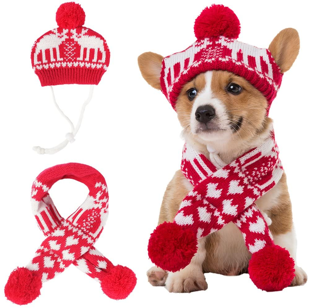BINGPET Pet Dog Christmas Costume Xmas Reindeer Scarf and Hat Set Party Accessories Knit for Pet from Small to Large