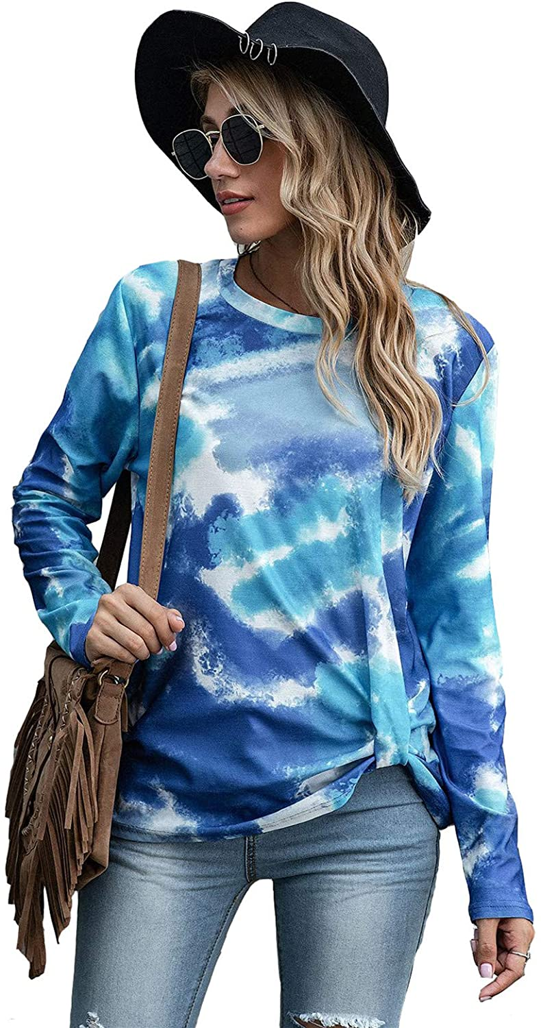 NIYIGEJI Swing Tunic Tops Fashion Bottom Corner Positioning Knot tie-dye Printed T-Shirt Round Neck Long-Sleeved top