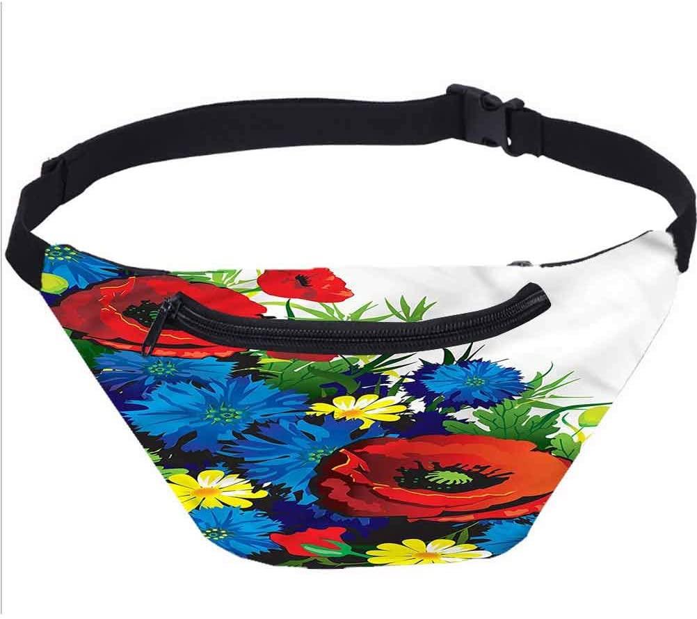 Floral Travel Fanny Bag,Vibrant Color Bouquet Poppy Waist Pack for Women Men Kids