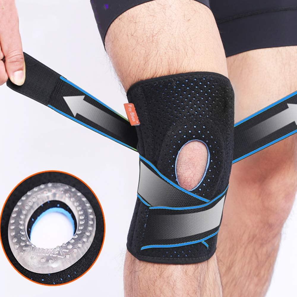 Comfort Anti Slip Compression Knitting Knee Sports Neoprene Knee Brace with Elastic Strap for Running Sports