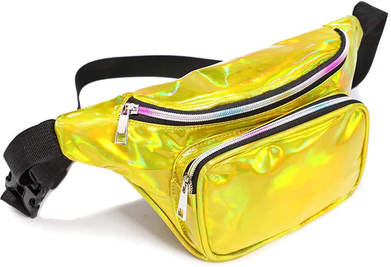 Fanny Pack, Veckle Holographic Fanny Pack Waterproof Cute Waist Bag Adjustable Belt Bag Iridescent Fanny Pack for Women, Men, Travel, Beach, Gold