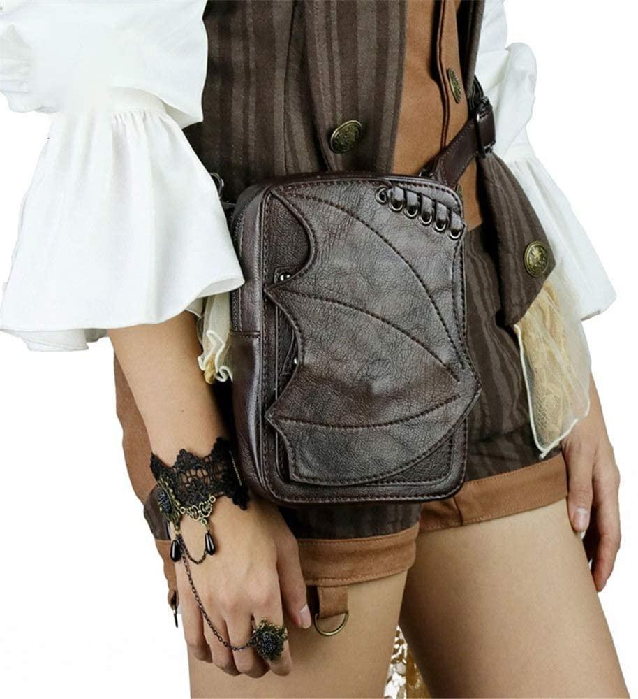 Women's Waist Bag Unisex Gothic Rock Pu Leather Steampunk Waist Bag Messenger Shoulder Fanny Pack Bum Bag For Men Women Travel Sports Running Hiking Leather Waist Packs ( Color : Brown , Size : Free )