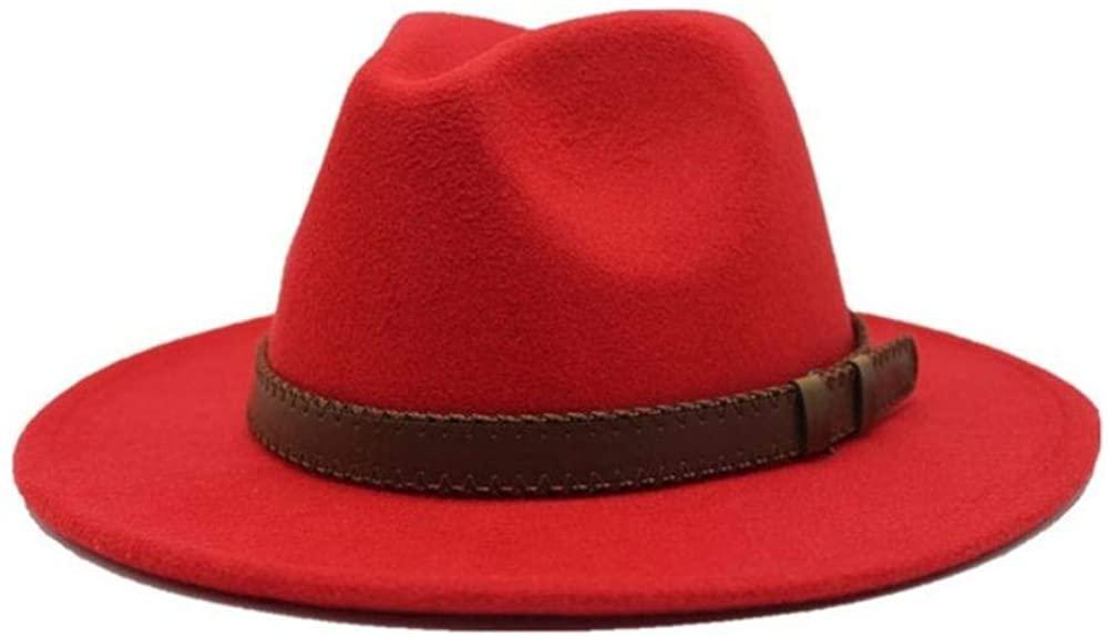 Winte Mens Fedora Hat Wool Khaki Female Casual Large Brim Vintage Autumn Classic Felt Hat and Cap 55-58cm