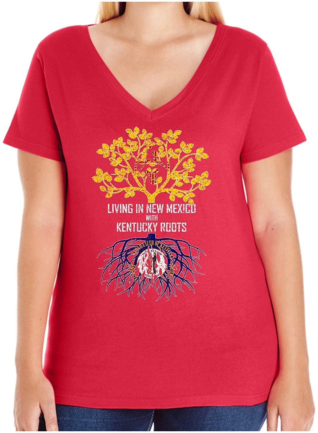 HARD EDGE DESIGN Women's Living in New Mexico with Kentucky Roots Plus Size V Neck T-Shirt, Size 3, Red