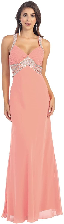 US Fairytailes Chiffon Dress Long Formal Rhinestone Prom Gown #2960