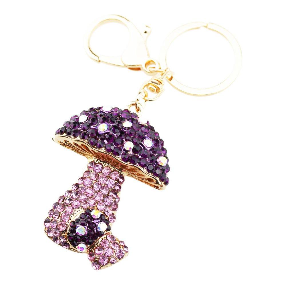 FOY-MALL Exquisite Mushroom Rhinestone Alloy Women Keychain for Car Keys or Gift H1101