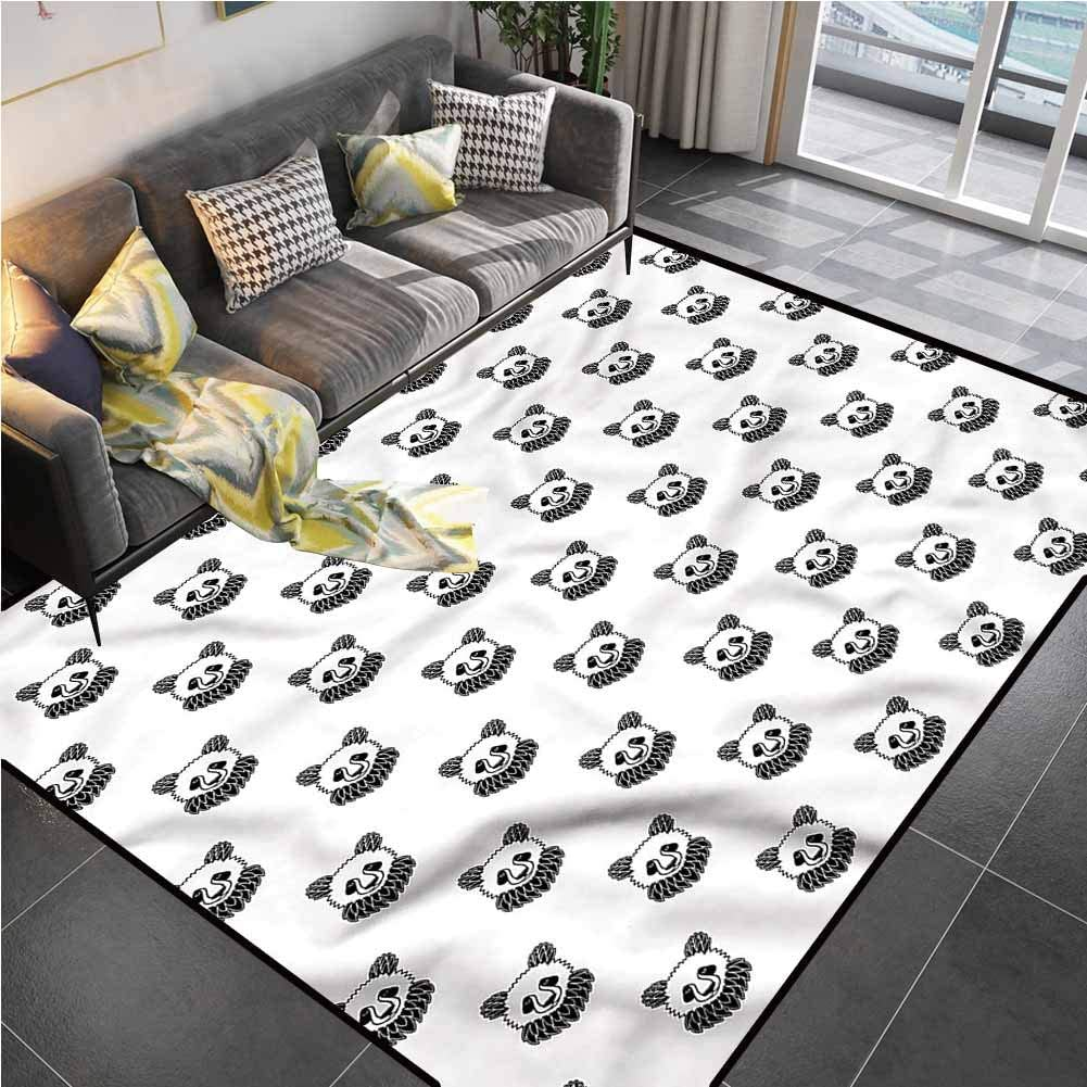 Area Rug Print Large Rug Mat Tattoo,Panda Bear Portraits Outdoor Rugs for patios for Living Room Bedroom Playing Room 6'6