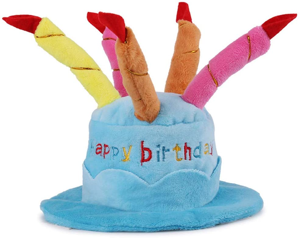 Sunny Sep Pet Birthday Hat Small Cats & Dogs, Cake & Candles Design Cute Dog Birthday Party Costume
