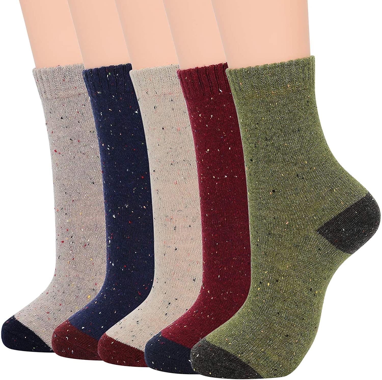Womens Wool Socks Winter Warm Athletic Crew Long Fall Socks Thick Indoor Socks Hiking Sports Socks
