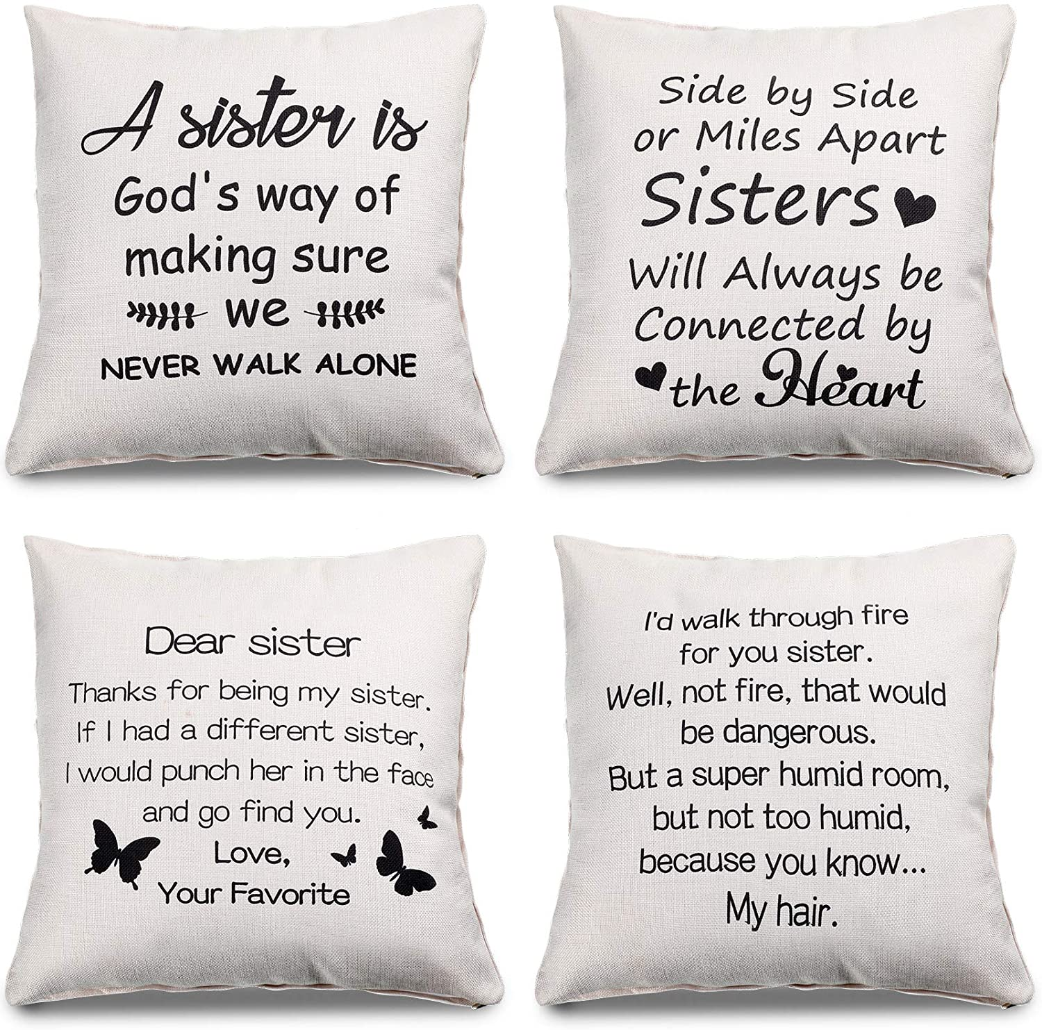 4 Pieces Sister Pillow Covers, Novelty Gifts for Best Sisters, Soul Sister, Friendship Gift Cotton Linen Cushion Cover Pillow Case Cover for Home Chair Sofa Couch Decor, 18 x 18 Inch