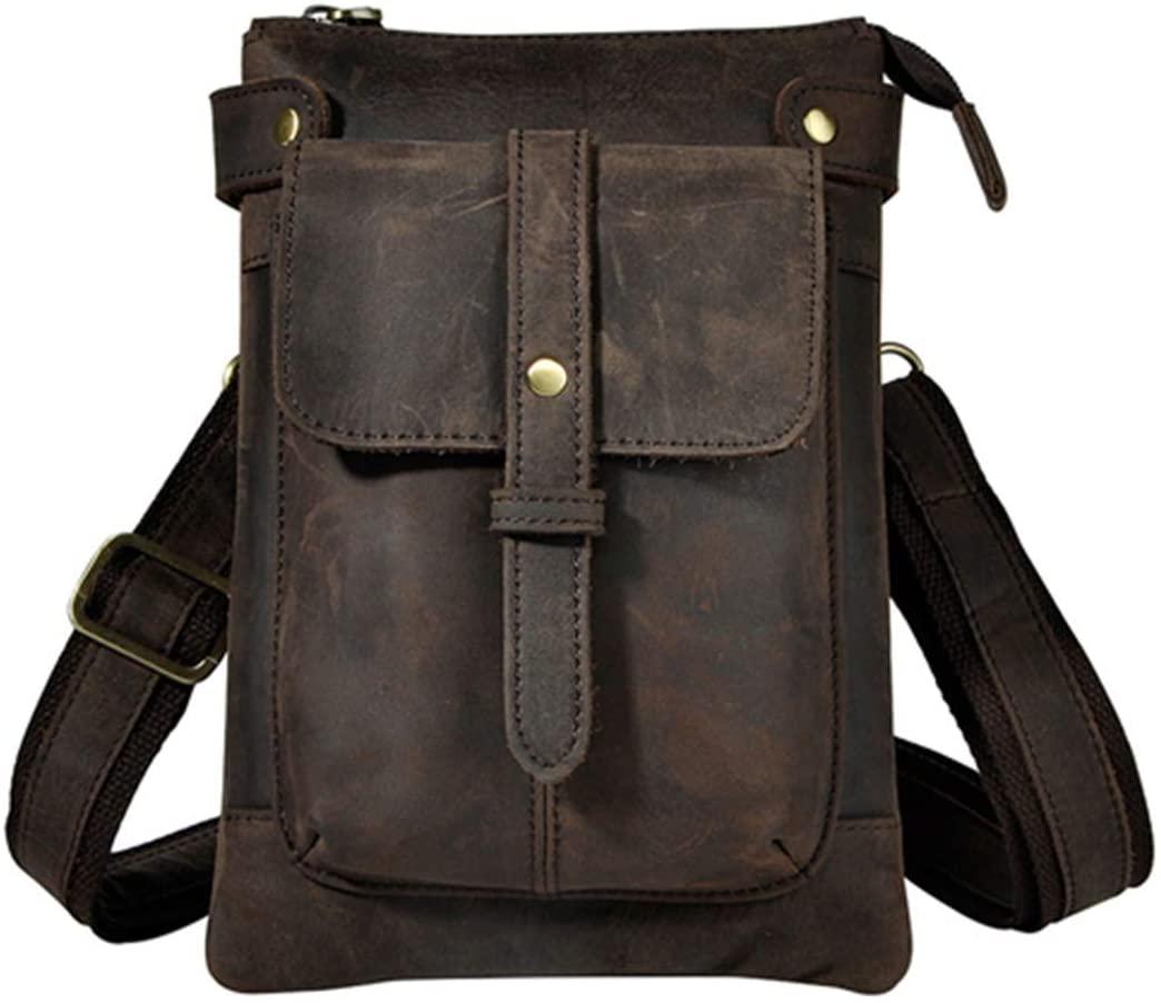 DiaoPiou Men Waist Bag Genuine Leather Fanny Belt Packs Motorcycle Messenger Shoulder Crossbody Bag Travel