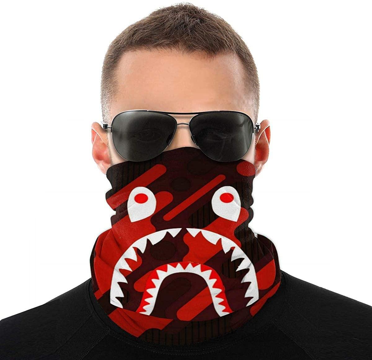 Ba-Pe Shark Face Unisex Fashion Face Bandanas Head Band Wears Scarf Face Tube Neck Scarf Variety Head Scarf