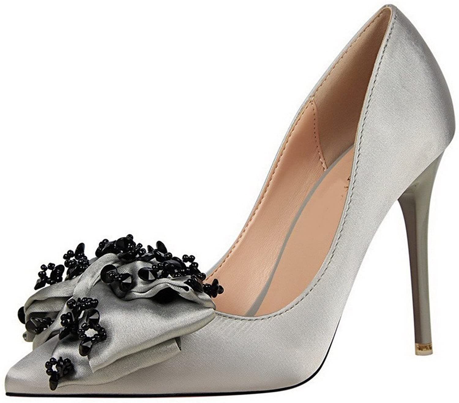 Three Second Fashion Simple Women's Silk Solid Spikes-Stilettos Pointed-Toe Pumps-Shoes with Bowknot