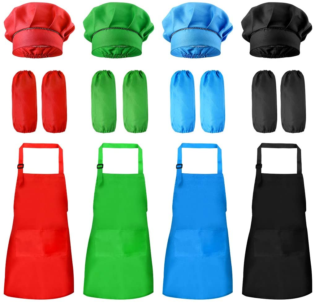 Yookat 16 Pieces Kids Chef Hat Apron Sleeves Set Adjustable Aprons for Kids Boys Girls Chef Hat and Apron Sleeves with Pockets for Kitchen Cooking Baking Painting (Red Black Blue and Green, Large)