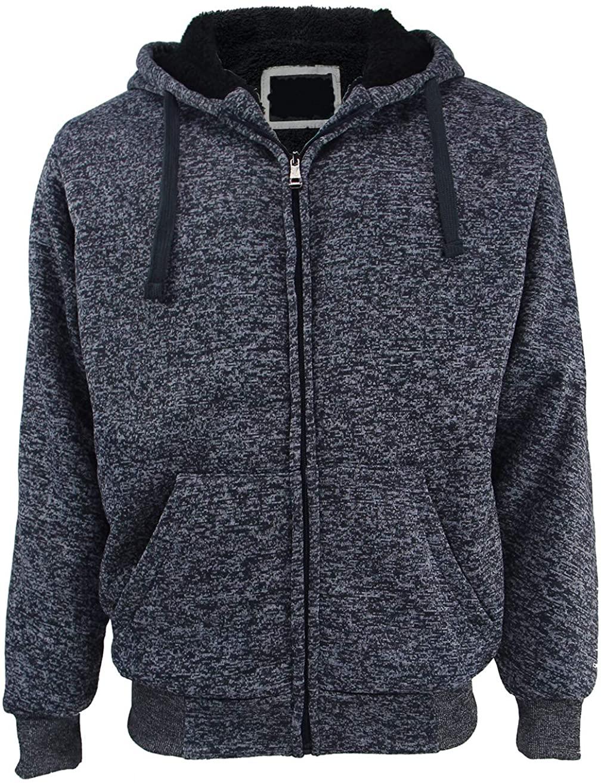 Yasumond Men's Hoodies Full Zip Sherpa Lined Heavyweight Fleece Warm Sweatshirts Big Tall