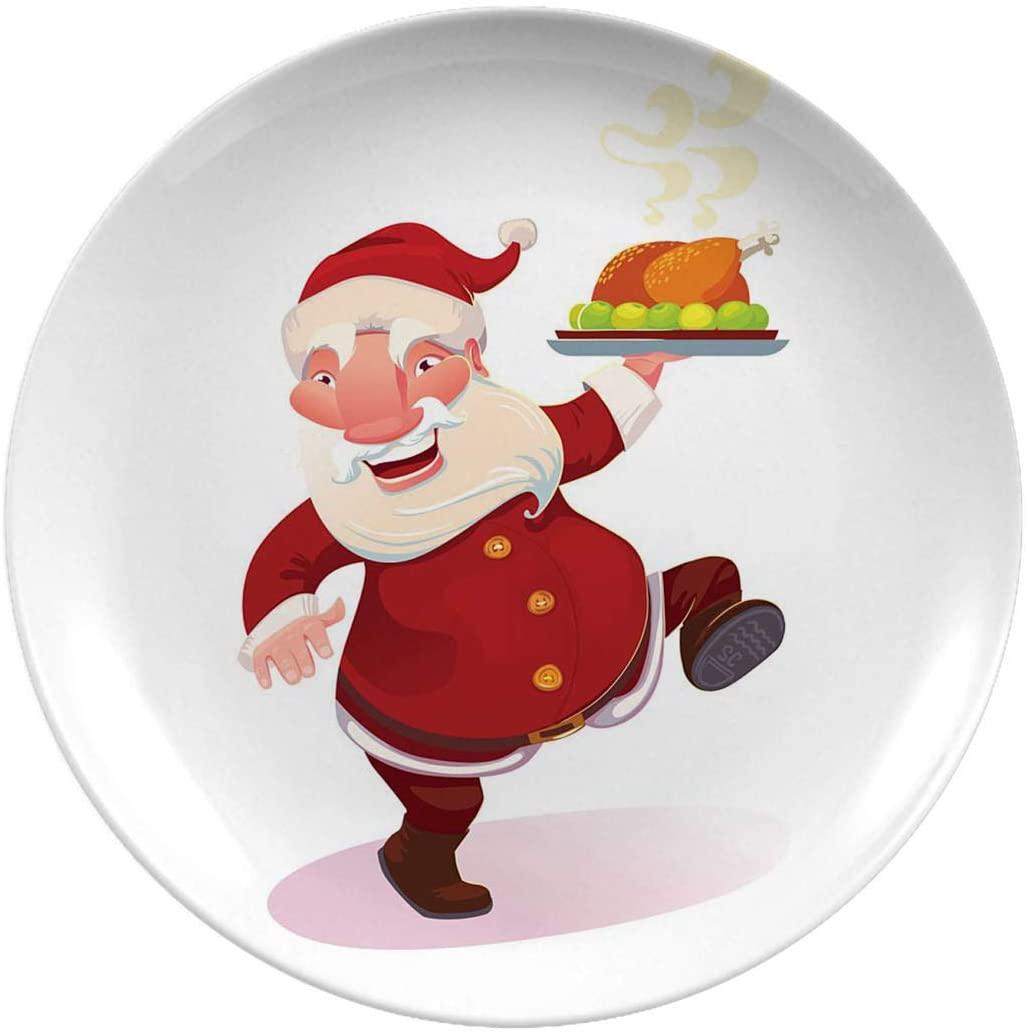 Christmas Ceramic Stoneware Dinner Plates,Santa With Turkey,tableware Plates For Everyday Use,10 Inch 6 Piece Set