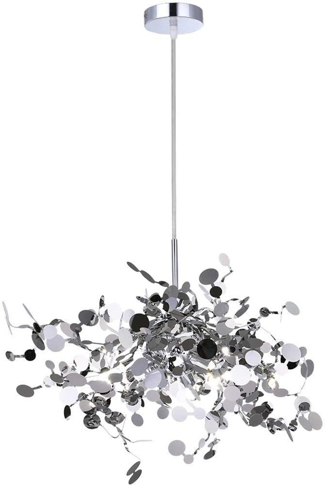 Garwarm Modern Chandelier LED Stainless Steel Kitchen Island Lamp Firework Hanging Ceiling Light Fixture for Dining Room Living Room Restaurant, 3 Lights Pendant Lighting Porch Light