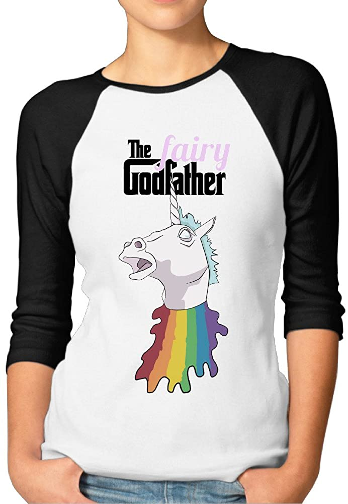 The Fairy Godfather Women's Artist 100% Cotton 3/4 Sleeve Athletic Baseball Raglan Sleeves T-Shirt
