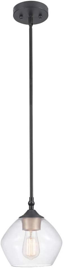 Globe Electric Harrow 1-Light Pendant, Gold Accent Socket, Shade 60312, 59.6