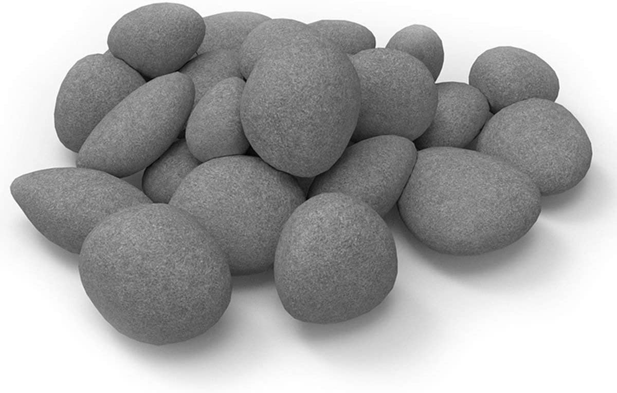 24 PCS Fireplace Ceramic Pebbles for Firepits ,for All Types of Indoor, Gas Inserts, Ventless & Vent Free, Electric, or Outdoor Fireplaces & Fire Pits. Realistic Clean Burning Accessories … (grey)