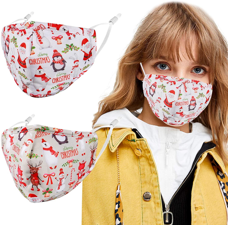 2 Pack Unisex Adjustable Reusable Cloth Face Masks for Outdoor. Santa for Women Men.