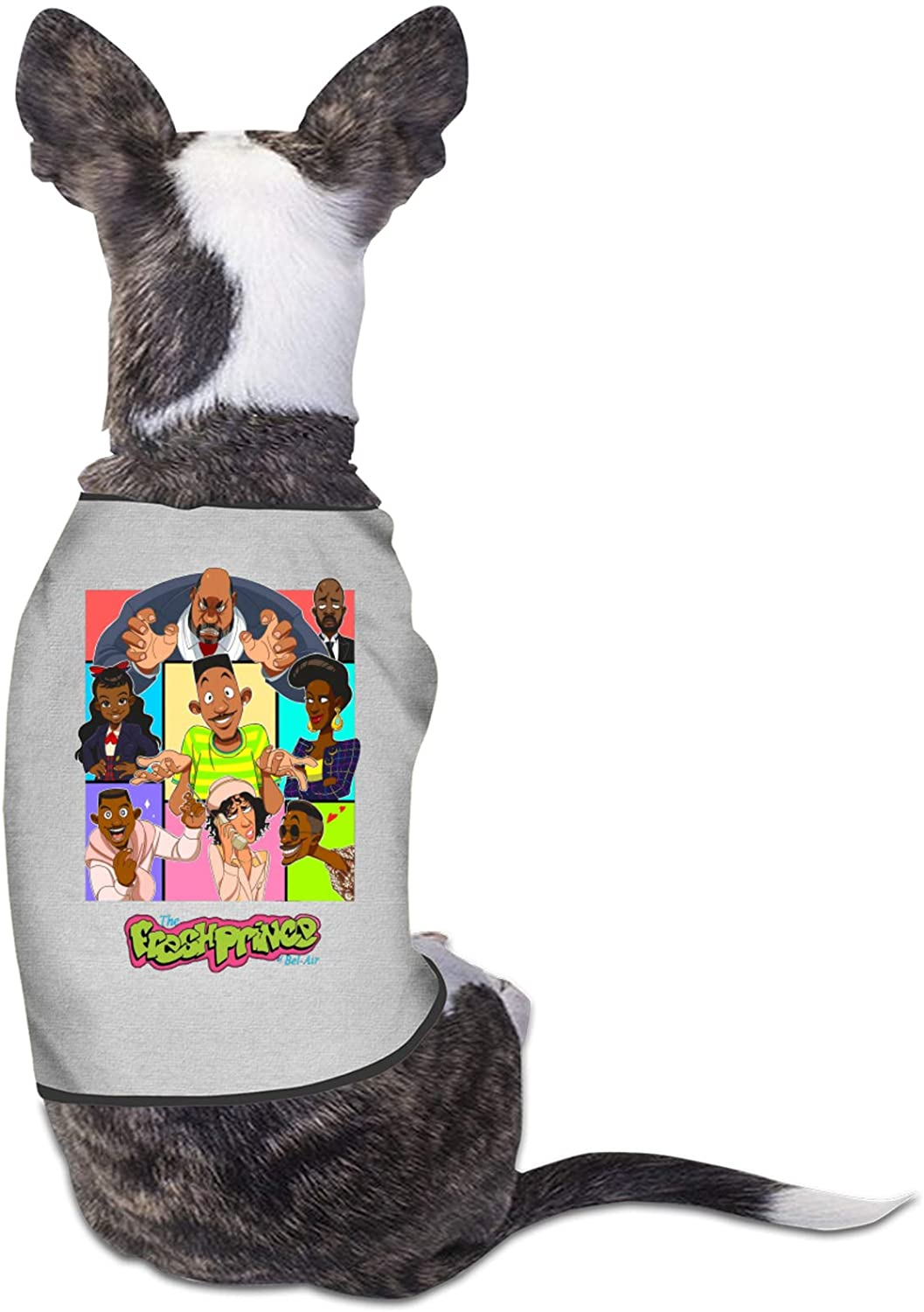 Lingassassin The Fresh Prince of Bel-Air Small Dog Girl Dog Boy Soft Cotton Vest Dog Clothes Pet Clothing Funny Cool Apparel Gray Small