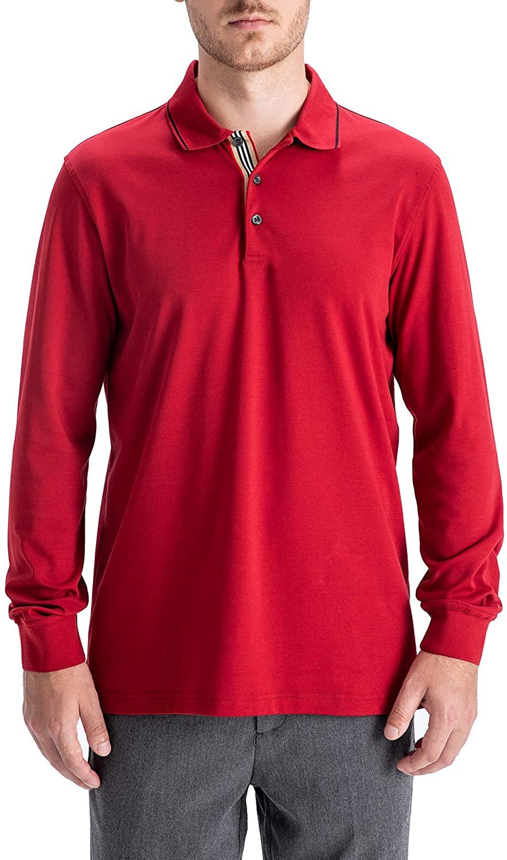 MAELREG Mens Liquid Touch Extra Fine Cotton Interlock Long Sleeve Polo Shirts