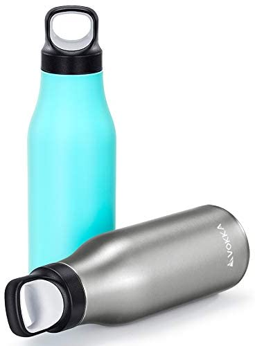 VOKKA Stainless Steel Water Bottle Flask [450 ml], BPA-Free, Vacuum-Insulated, Keeps Drinks Cold 24 Hours & Hot 12 Hours, Metallic/Blue-Green
