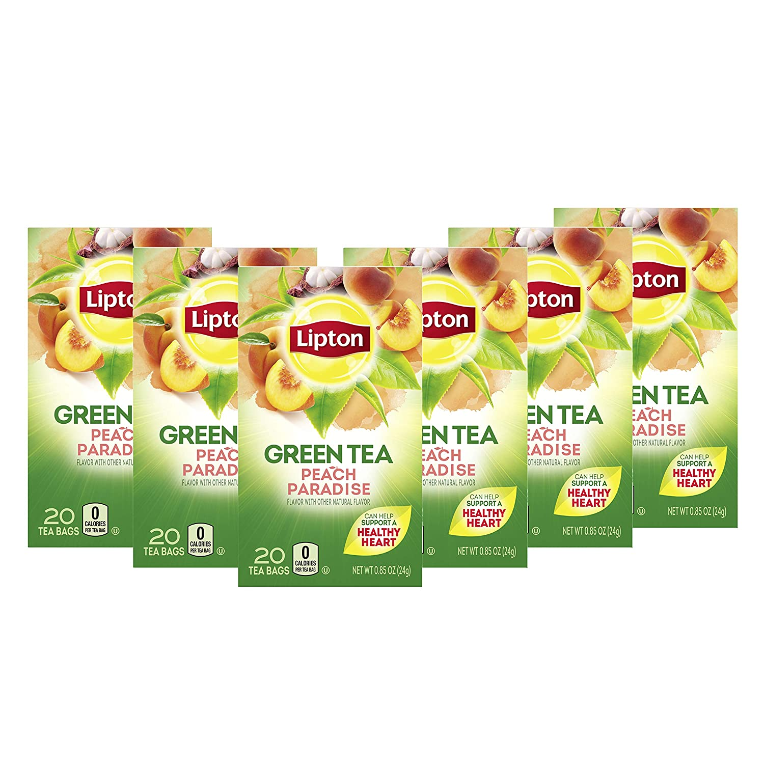 Lipton Green Tea Bags Flavored with Other Natural Flavors Peach Paradise Can Help Support a Healthy Heart 1.13 oz 20 Count, Pack of 6, Pack of 6