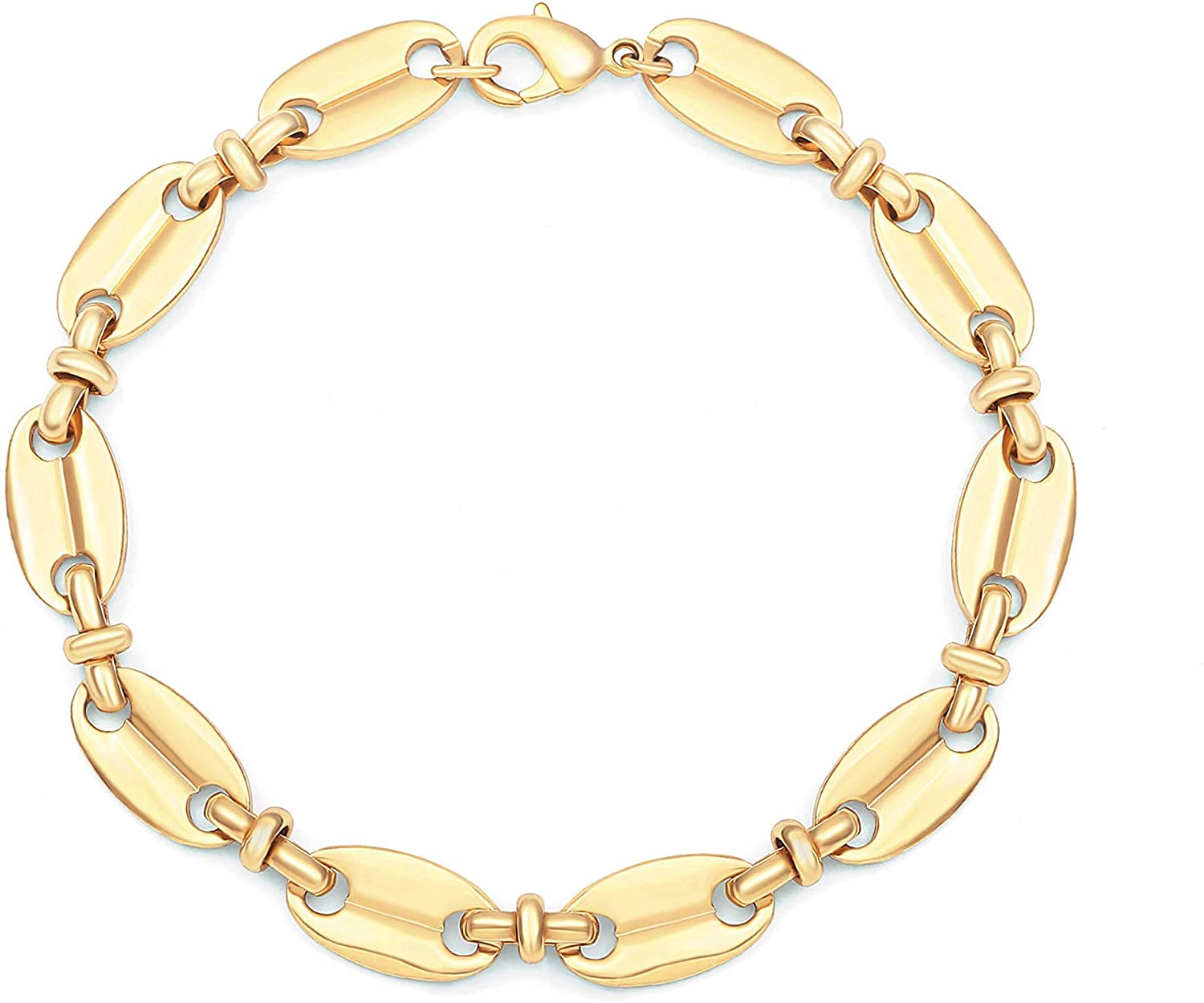 PEARLADA 3-Row 18K Gold Chain Bracelet Dainty Cross Medallion Charm Bracelet OT Toggle Bangle Handmade Stacking Layering Jewelry Fashion Long and Short Oval Link Bracelet for Her