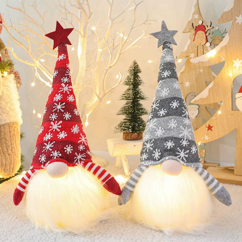 Christmas Gnome Lights, Handmade Swedish Doll Scandinavian Tomte Yule Santa Nisse, Lighted Nordic Figurine Plush Elf Toy,Christmas Decoration Lights Tree Topper Home Household Ornaments Dolls