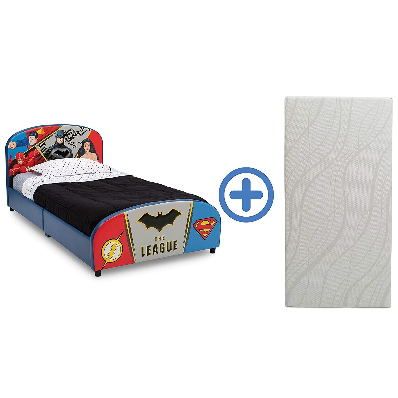 Delta Children Upholstered Twin Bed & 6-Inch Memory Foam Twin Mattress, Marvel Avengers, DC Comics Justice League